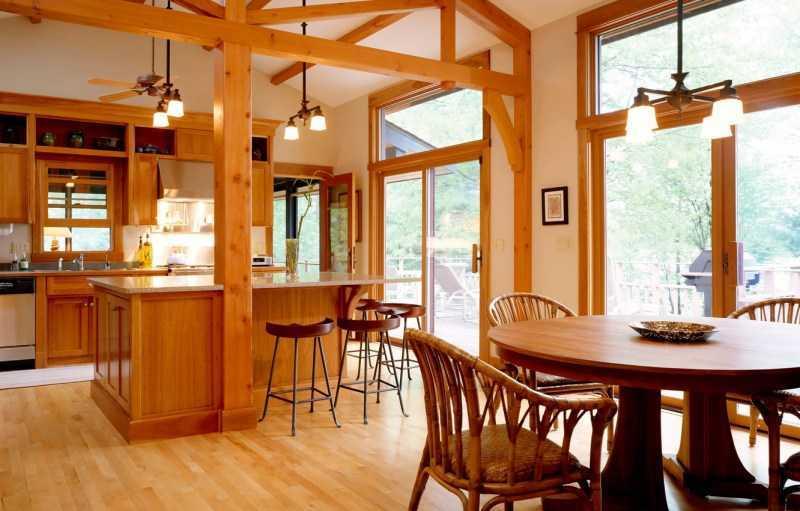 Кухня в деревянном доме — 150 фото лучших идей современного дизайна. Готовые дизайн-проекты оформления кухни в доме из бруса