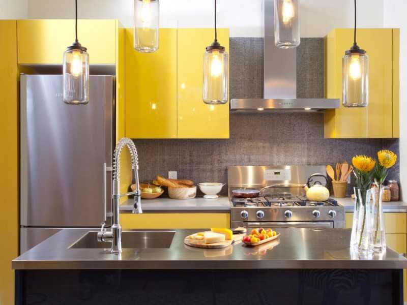 Желтая кухня — 140 фото красивых вариантов дизайна кухни желтого цвета
